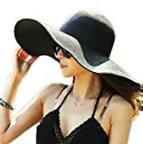 AngelCity Brides Womens Beach Hat Striped Straw Sun Hat Floppy Big Brim Hat (Black)