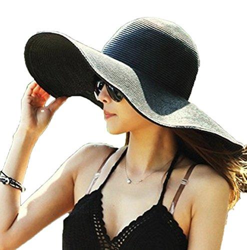 AngelCity Brides Womens Beach Hat Striped Straw Sun Hat Floppy Big Brim Hat (Black)