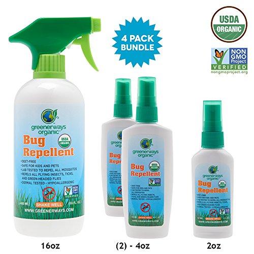 GREENERWAYS ORGANIC Deals Insect Repellent, Bug Spray, USDA Organic, Non-GMO, Mosquito-Repellent, Best Natural Insect Repellent, Repellant, 4-Pack (1) 2oz (2) 4oz (1) 16oz - MSRP 56.99