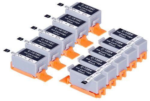 10 Pack Compatible Canon BCI-15 5 Black, 5 Tri Color for use with Canon Canon i70, i80. Ink Cartridges for inkjet printers. BCI-15-BK , BCI-15-C © Blake Printing ()