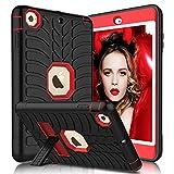 iPad Mini Case - iPad Mini 2 Case - iPad Mini 3 Case - iPad Mini Retina Case - Elegant Choise Heavy Duty Three Layer Armor Defender Protective Case Cover with Kickstand for iPad Mini 1 2 3 (Red+Black)