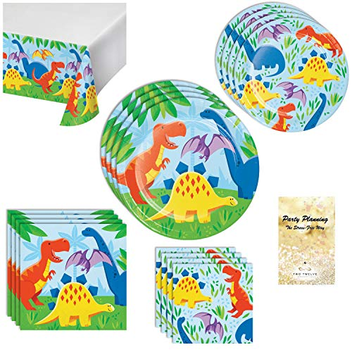 Dinosaur Party Supplies, Colorful Design, 16 Guests, 66 Pieces, Disposable Paper Dinnerware, Plate, Napkin and Tablecloth Set