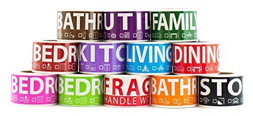 - 600 Home Moving Labels for 3 Bedroom House. 50 labels per room, 12 Color Coded Label Rolls. FRAGILE label included. For Moving boxes, Moving Supplies, Wardrobe Boxes, Apartment sticker