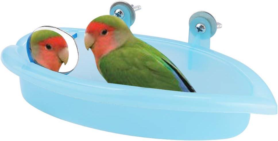 HEEPDD Bañera Loro, baño de Loros de Color Azul Claro para anchoas Periquitos Pericos Cockatiel