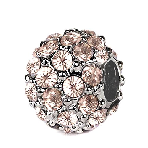 Sterling Silver Roundel Charm with Light Peach Color Swarovski Crystal, Fits Pandora, Jovana Bracelet, This Swarovski Crystal Ball Charm Is Not the Cheap Crystal Sticked on the Ceramic Mud , on Our Charm, All the Crystals Prong Set on the Sterling Silver (Crystal Roundels Light)