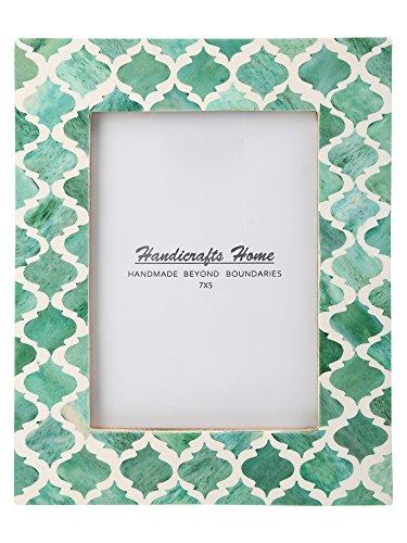 Picture Photo Frame Moorish Damask Moroccan Arts Inspired Handmade Naturals Bone Frames Photo Size 4x6 & 5X7 inches (5X7, Green & White)