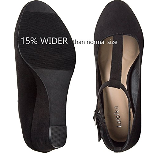 Pictures of Luoika Women's Wide Width Wedge Shoes - Black 6 W(W)US 5