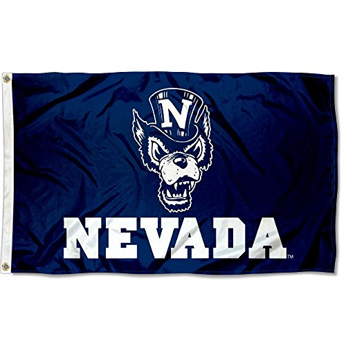Nevada Wolfpack Navy Blue Wolf Logo Flag