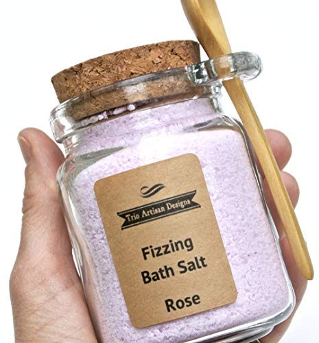 Fizzing Bath Salt in Glass Jar with Attached Wood Spoon for Effervescent Bath Soak, 8 ()