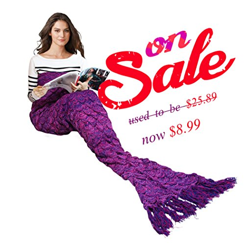Mermaid Blanket Adult size, Crochet Snuggle Sleeping Bag with scale Pattern and Tassels Decoration (Little Mermaid Gift Bags)