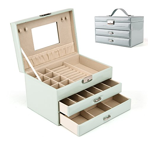 HEZALA Large Jewelry Box, Faux Leather Jewelry Organizer Mirrored Travel Storage Display Case for Girls Women- Sky Blue