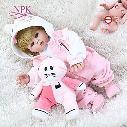 "18/"" Washable Newborn Baby Dolls Full Body Silicone Reborn Girl Lifelike Gifts"