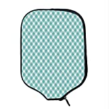 YOLIYANA Aqua Durable Racket Cover,Retro Vintage Gingham Pop Art Style Lovers Spring Summer Inspired Artwork Decorative for Sandbeach,One Size