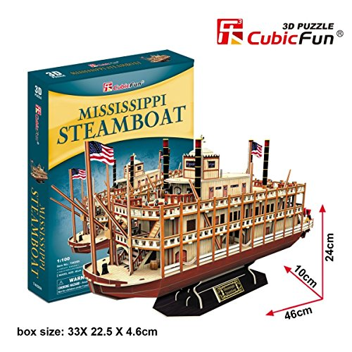 Model Kit Mississippi (Mississippi Steamboat: 3D Puzzle Cubic Fun Construction Kit 1:100 142 pieces)