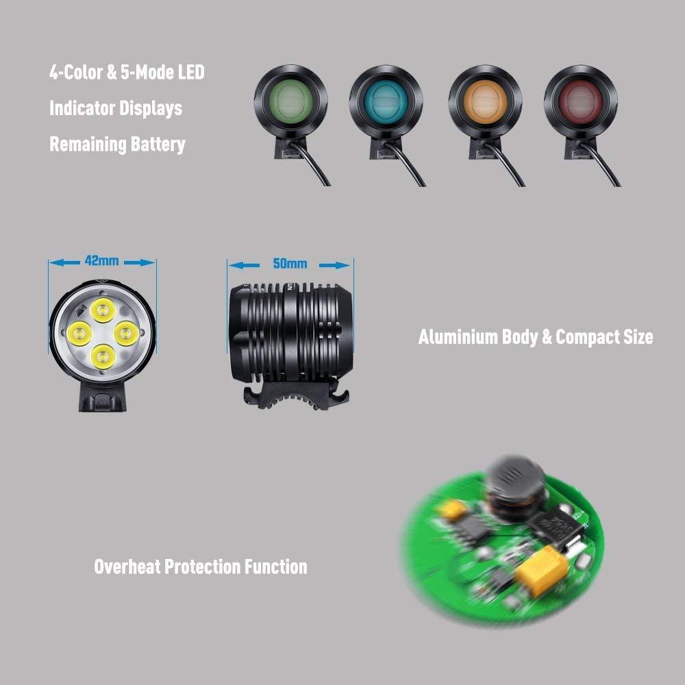 SLCSL 1600/l/úmenes Faro L/ámpara CREE LED Luz de Bicicleta/ /Mountain Bike Bicicleta Set con 5200/mAh Bater/ía Cargador AC