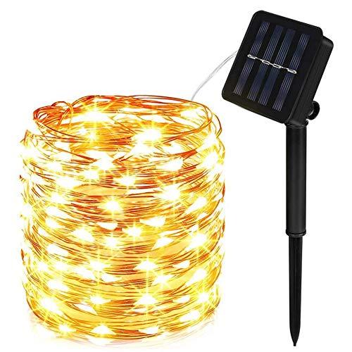 Molbory Cadena Luces Solares, IP65 Impermeable Cadena de Luces 10M 100 LED, 8 Modos Guirnaldas Luces Solar con Alambre…