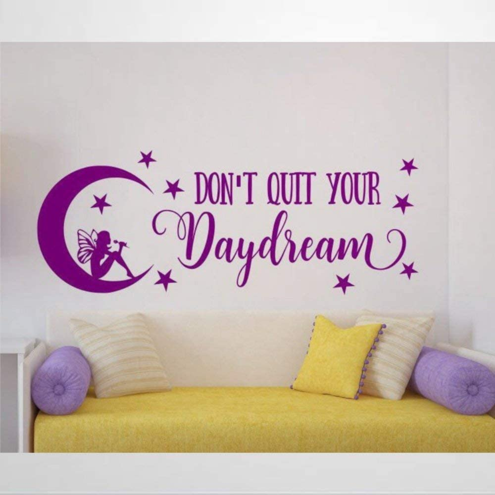 Fairy Wall Decal, Don't Quit Your Daydream Wall Decals Removable Vinyl Decals Sticker Wall Decor Mural Wall Art Home Decor