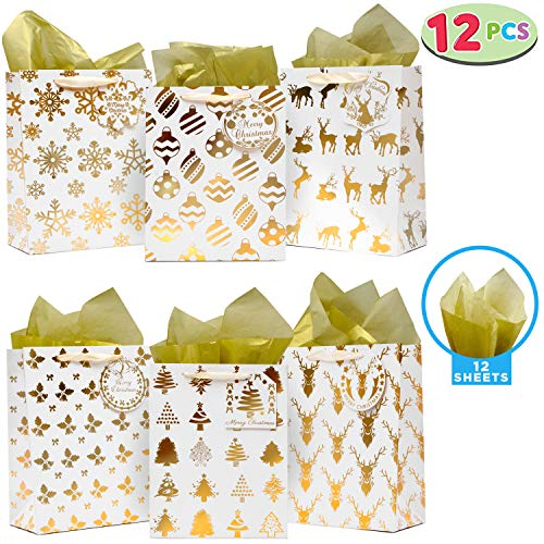 12 Pack Christmas Holiday Foil Gold Gift Bags with Tissue Papers and Name Card Tags; Assorted White Winter Prints for Party Favors Goody Bags, Xmas Presents, Classrooms and Wrapping Stocking Stuffers.