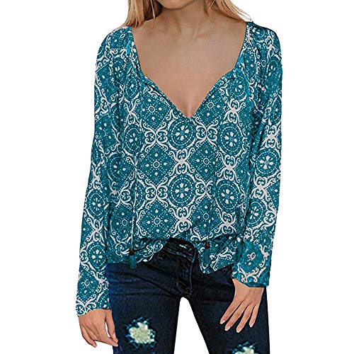 Blouse V Neck Long Sleeve Womens CasualFloral Print T-Shirts Tops Blouse Blue -