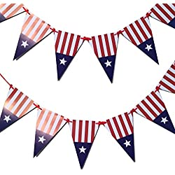 Bobee Banners Red White and Blue 4th of July Party Decorations, 13 flags for 8 feet