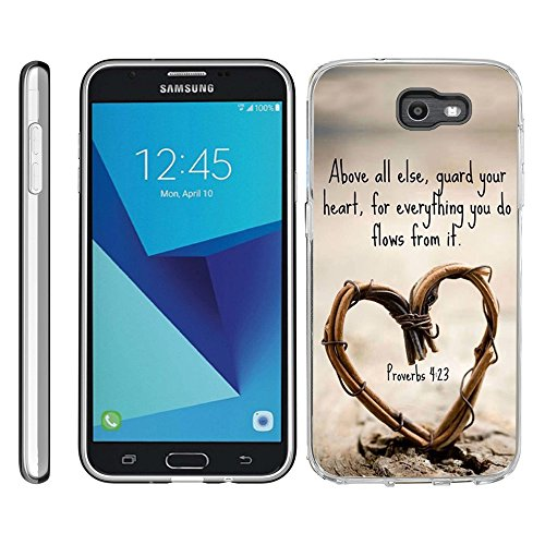 for Samsung Galaxy J7 V / J7 2017 / J7 Perx / J7 Sky Pro/Galaxy Halo Case TPU Non-Slip High Definition Printing Quote Proverbs 4:23 Above All Else ()