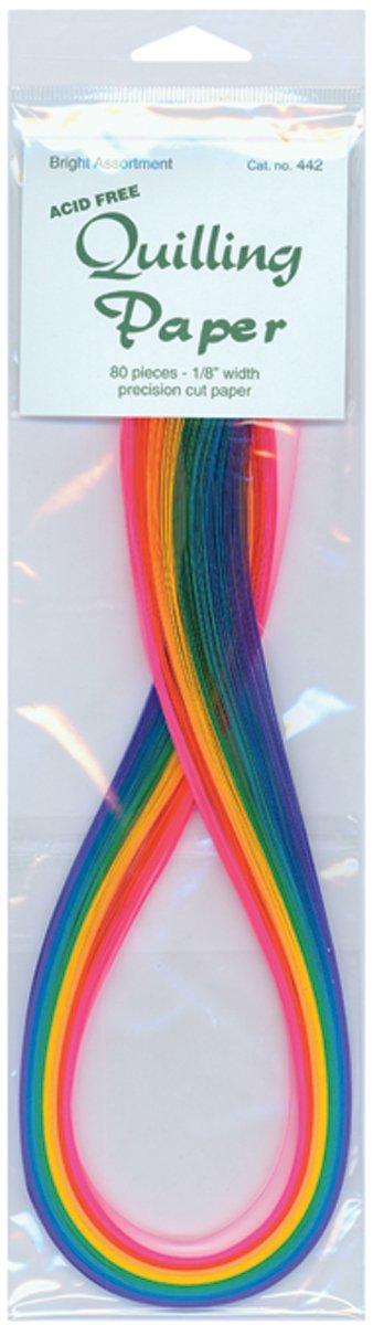 8 Colors Quilling Paper .125 80//Pkg-Bright