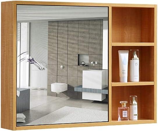 Armarios con espejo Mueble Espejo de baño de Madera Maciza Espejo de baño Lente de Almacenamiento