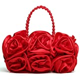 Satin Rose Pure Color Evening Bag Evening Clutches for Women Handbag Purse Wedding Handbags with Pearl Beaded Chain Handle Red