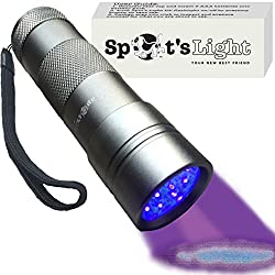Spot's Light UV Blacklight Flashlight, Silver 12 LED, Ultraviolet Pet Urine Stain Detector Finds Dog and Cat Pee on Carpets, Rugs, any Floor or Wall