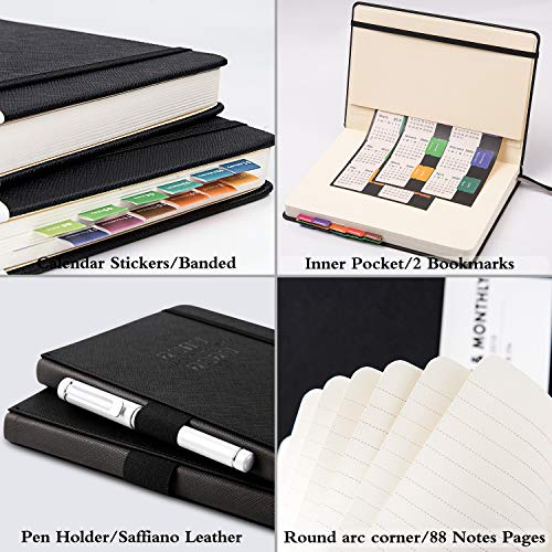 """Planner 2019-2020 - Academic Weekly/Monthly Planner, Saffiano Leather with Pen Holder with Thick Paper, Back Pocket with 88 Notes Pages 