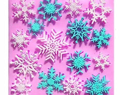 Snowflake Mint Molds - Snowflakes 16 Cavity Silicone Mold for Fondant, Gum Paste & Chocolate