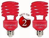 SleekLighting 23 Watt T2 RED Light Spiral CFL Light Bulb, 120V, E26 Medium Base-Energy Saver