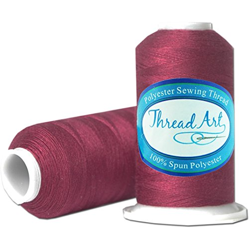 (Threadart Polyester Sewing Thread - 600m - Color 397 - Wine - 80 Colors Available)
