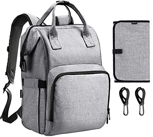 Diaper Bag Backpack, Raydem Large Multifunctional Travel Backpack Stylish Waterproof Maternity Nappy Bag with 25L Large Capacity, 14 Pockets, USB Charging Port, Changing Pad, Stroller Hook - 14 Grey Usb