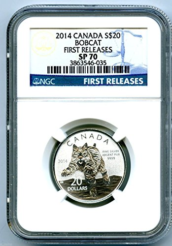 (2014 $20 Canada Silver Bobcat Lynx FIRST RELEASES Blue Label 1/4 Ounce $20 SP70 NGC)
