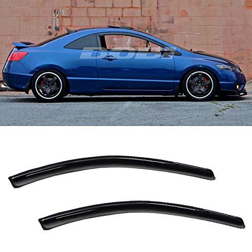 VIOJI 2pcs Front Door Dark Smoke Outside Mount Style Sun Rain Guard Vent Shade Window Visors Fit 06-11 Honda Civic 2-Door Coupe Only ()