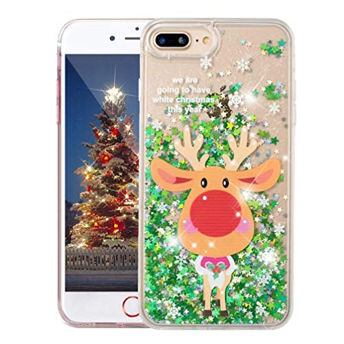 ISADENSER iPhone 6 Plus Case iPhone 6S Plus Case Clear Back PC + Soft TPU 360 Christmas Series for Girly Child As Gift Quicksand Shiny Glitter Liquid Bling Case for iPhone 6S Plus Christmas Reindeer