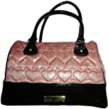 Betsey Johnson High Sequency Satchel Bag Be Mine Patent Black Sequin Heart Blush, Bags Central