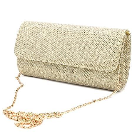 JAGENIE - Bolso de Hombro para Mujer, para Novia, Fiesta, Baile, Boda, Sobre, Bolso de Mano, Dorado, 20×11×5cm: Amazon.es: Hogar
