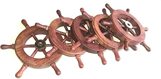 Nautical Pirate Wooden Ship Wheel Set of 5 W Brass Hub
