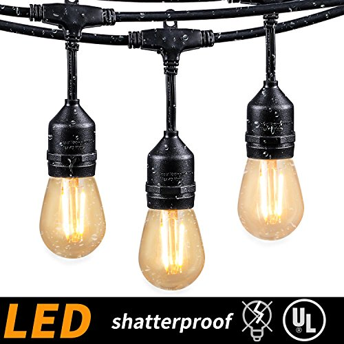 - 48FT Outdoor String Lights with 15 Shatterproof LED S14 Edison Light Bulbs-UL Listed Commercial Patio Lights for Deck Backyard Porch Balcony Bistro Cafe Pergola Gazebo Market Garden Decor, Warm White
