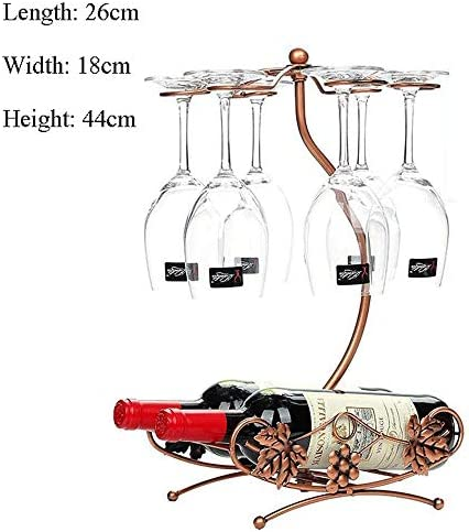 ゴブレットホルダー つる形状6フックワイングラスホルダーは脚付きグラス乾燥はホームバーワイングラスホルダースタンドのために芸術卓上ディスプレイラックスタンド ワインラック (Color : Bronze, Size : 26*18*44cm)