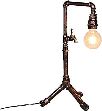 Lámpara de mesa industrial de la vendimia, retro Tubería de agua ...