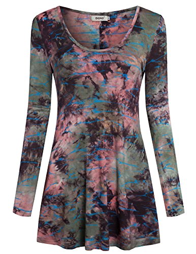 Tunic Shirts for Womens,Bepei Round Neck Tie Dye Casual Comfy Knit Tops Pink M