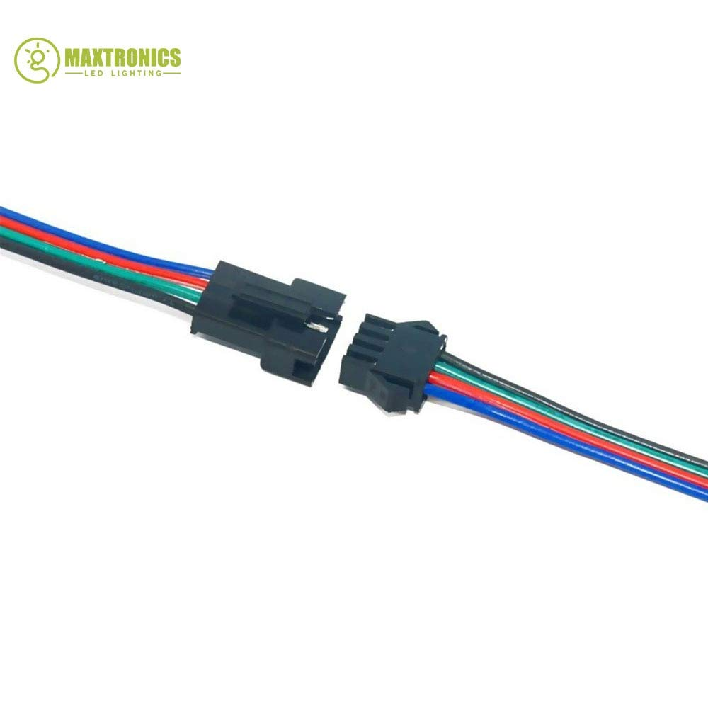 Gimax 500 Pairs 4 Pin JST SM Connector Male to Female JST SM Plug Connector Cable for 5050/3528 RGB LED Strip Light by GIMAX (Image #5)