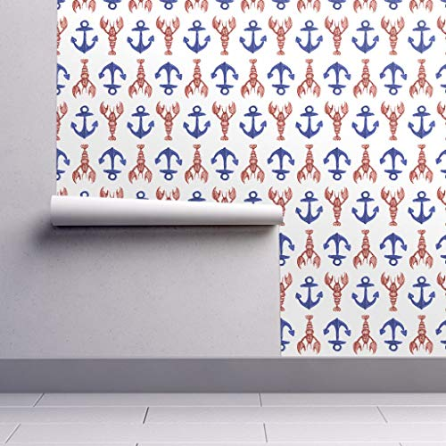 Peel-and-Stick Removable Wallpaper - Preppy Nautical Watercolor Beach Cottage Biro Anchor Lobster Sketch by Crumpetsandcrabsticks - 24in x 60in Woven Textured Peel-and-Stick Removable Wallpaper Roll (Preppy Wallpaper)