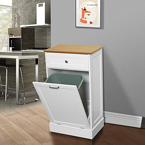 U Eway Wooden Tilt Out Trash Cabinet Free Standing Kitchen Trash Can Holder Or Recycling Cabinet With Hideaway Drawer Farmhouse Touches