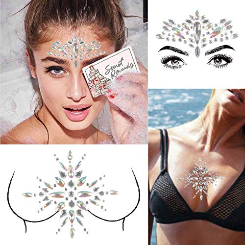 COKOHAPPY 2 Sheet Mermaid Rhinestone Breast & Face Jewels Tattoo - BODY STICKERS Crystal Tears Gem Stones Bindi Temporary Stickers Set 3 - Ons Rhinestones