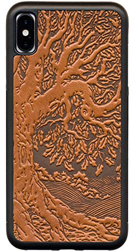 Leather iPhone Case for iPhone XR: Rugged, Flexible TPU iPhone Holder with Embossed Top Grain Cowhide Leather, Handcrafted in USA, Tree of Life by Oberon Design (XR)