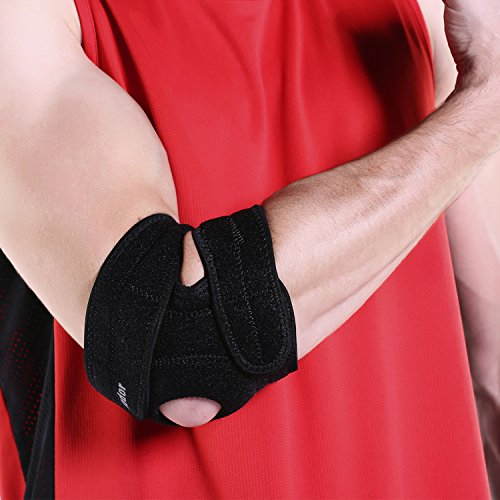 Aodor New Designed Black Adjustable Elbow Brace Support for Sports,Outdoor activities,elbow injury-Tendonitis Elbow Brace-Tennis Elbow Brace-Reflective Logo-One Size Fits All for sale